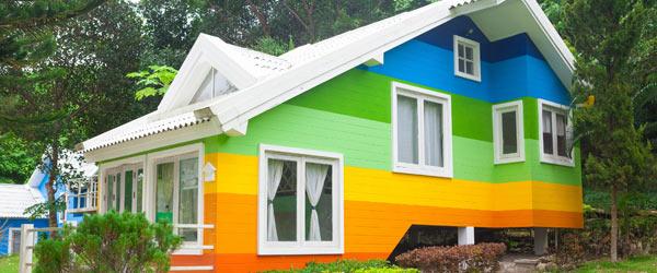 facade maison multicolore